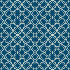 Abstract Vector Seamless Pattern With Abstract Geometric Style. Repeating Sample Figure And Line. For Fashion Interiors Design, Wallpaper, Textile Industry. Silver blue color