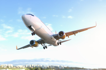 Commercial Airplane close fly by Wall mural