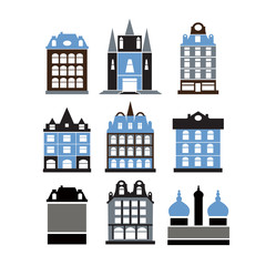 Set of retro buildings