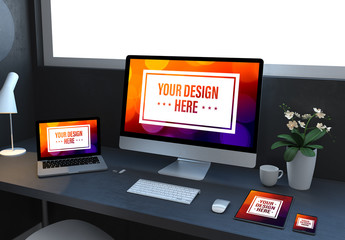 Computer and Mobile Devices on Dark Gray Desk Mockup