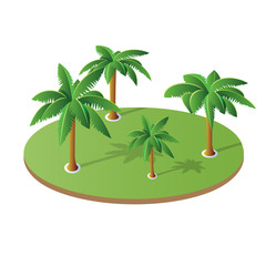 A set of isometric palm