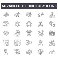 Advanced technology line icons. Editable stroke. Concept illustrations: digital business, connection, communication, innovation, tech etc. Advanced technology  outline icons