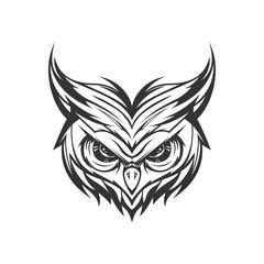 Owl Head Tattoo Illustration and tshirt design vector