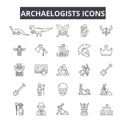 Archaelogists line icons for web and mobile. Editable stroke signs. Archaelogists  outline concept illustrations