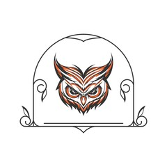 Owl Head with ornament frame Tattoo Illustration and tshirt design vector
