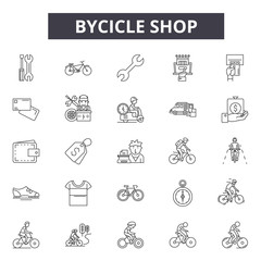 Bicycle shop line icons for web and mobile. Editable stroke signs. Bicycle shop  outline concept illustrations