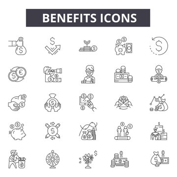 Benefits line icons for web and mobile. Editable stroke signs. Benefits  outline concept illustrations