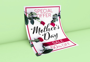 Mother's Day Sale Flyer with Rose Elements