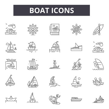 Boat line icons for web and mobile. Editable stroke signs. Boat  outline concept illustrations
