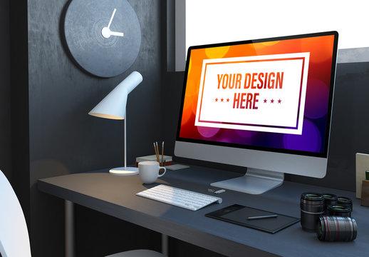 Computer and Camera Lenses on Dark Gray Desk Mockup