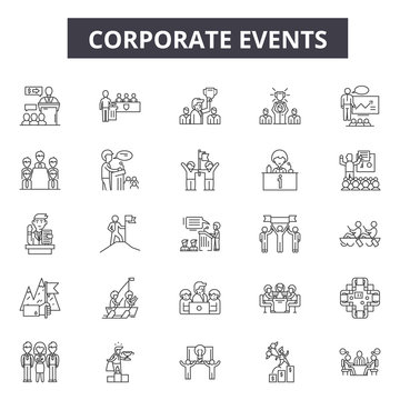Corporate events line icons for web and mobile. Editable stroke signs. Corporate events  outline concept illustrations