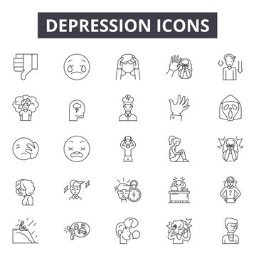 Depression line icons for web and mobile. Editable stroke signs. Depression  outline concept illustrations