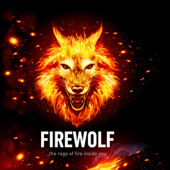 Head of Aggressive Fire Woolf in Sparks. Concept Image of a Red Wolf and Flame on a Black Background