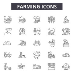 Farm line icons for web and mobile. Editable stroke signs. Farm  outline concept illustrations