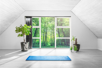 Yoga gym room in a green forest