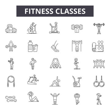 Fitness classes line icons for web and mobile. Editable stroke signs. Fitness classes  outline concept illustrations