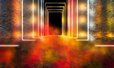 Dark empty stage, empty corridor with concrete walls and neon lights, multi-colored blurred lights, bokeh