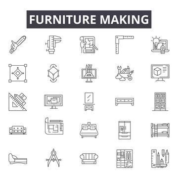 Furniture making line icons for web and mobile. Editable stroke signs. Furniture making  outline concept illustrations