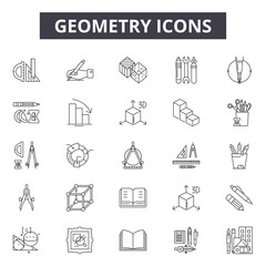 Geometry line icons for web and mobile. Editable stroke signs. Geometry  outline concept illustrations