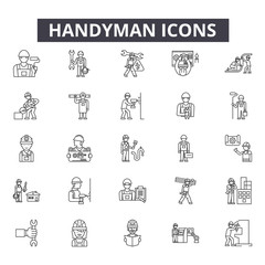 Handyman line icons for web and mobile. Editable stroke signs. Handyman  outline concept illustrations