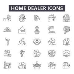 Home dealer line icons for web and mobile. Editable stroke signs. Home dealer  outline concept illustrations