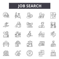 Job search line icons for web and mobile. Editable stroke signs. Job search  outline concept illustrations
