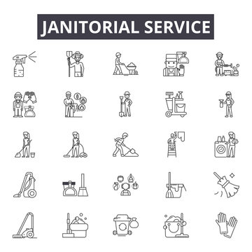 Janitorial service line icons for web and mobile. Editable stroke signs. Janitorial service  outline concept illustrations