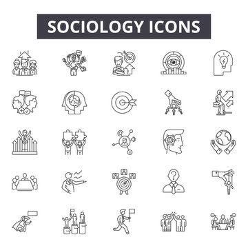 Sociology line icons for web and mobile. Editable stroke signs. Sociology  outline concept illustrations