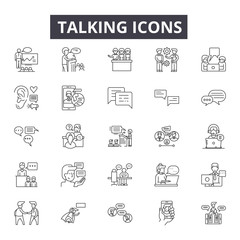 Talking line icons for web and mobile. Editable stroke signs. Talking  outline concept illustrations