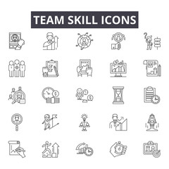 Team skill line icons for web and mobile. Editable stroke signs. Team skill  outline concept illustrations