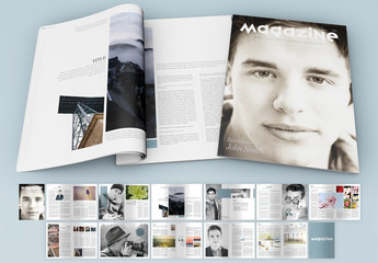 Magazine with Light Blue Accents