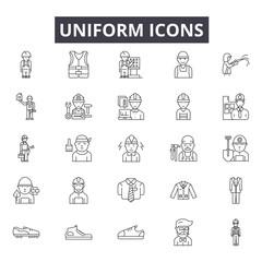 Uniform line icons for web and mobile. Editable stroke signs. Uniform  outline concept illustrations