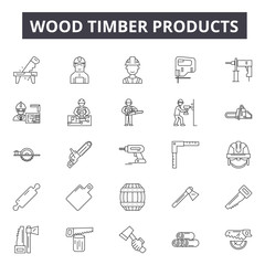 Wood timber products line icons for web and mobile. Editable stroke signs. Wood timber products  outline concept illustrations