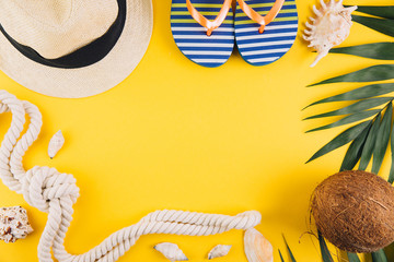 055343f2bcf34 Summer concept. Travel accessories  a straw hat