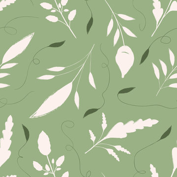 Hand drawn cream and green leaves with ornamental swirls. Seamless vector pattern on warm green background. Great for wellbeing, gardening, organic, beauty, spa products, fabric, giftwrap, stationery