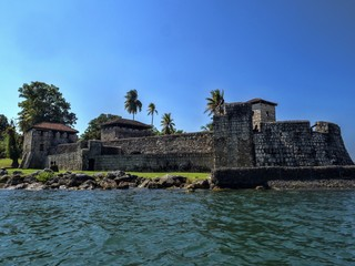 Old stone fortress on Rio Dulce, Guatemala