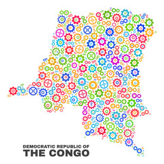 Mosaic technical Democratic Republic of the Congo map isolated on a white background. Vector geographic abstraction in different colors.