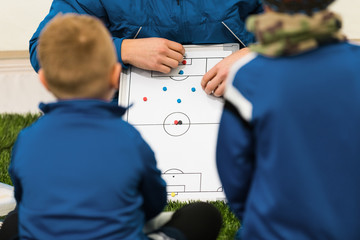 Football Coach Coaching Kids. Young Soccer Players Listening Coaches Tactics and Motivational Talk Speech