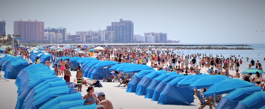 Clearwater Beach, Florida during spring break season