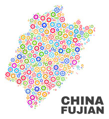 Mosaic technical Fujian Province map isolated on a white background. Vector geographic abstraction in different colors.