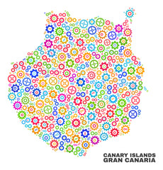 Mosaic technical Gran Canaria map isolated on a white background. Vector geographic abstraction in different colors. Mosaic of Gran Canaria map combined of scattered multi-colored cogwheel items.