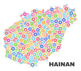Mosaic technical Hainan map isolated on a white background. Vector geographic abstraction in different colors. Mosaic of Hainan map combined of scattered multi-colored cogwheel elements.