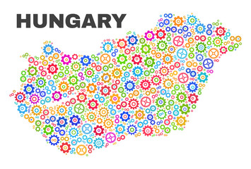 Mosaic technical Hungary map isolated on a white background. Vector geographic abstraction in different colors. Mosaic of Hungary map combined of random multi-colored cogwheel elements.