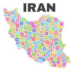 Mosaic technical Iran map isolated on a white background. Vector geographic abstraction in different colors. Mosaic of Iran map combined of scattered multi-colored gear items.