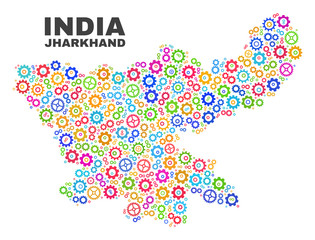 Mosaic technical Jharkhand State map isolated on a white background. Vector geographic abstraction in different colors. Mosaic of Jharkhand State map combined of scattered colorful gear elements.