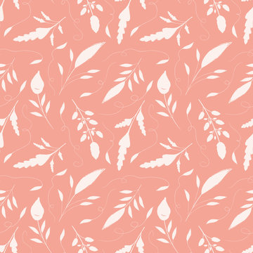 Delicate hand drawn cream leaves with ornamental swirls. Seamless vector pattern on salmon pink background. Great for wellbeing, gardening, organic, beauty, spa products, fabric, giftwrap, stationery