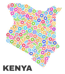 Mosaic technical Kenya map isolated on a white background. Vector geographic abstraction in different colors. Mosaic of Kenya map combined of scattered multi-colored wheel items.