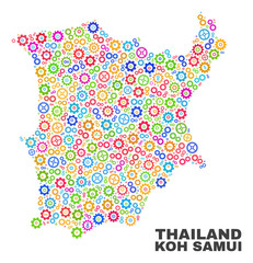 Mosaic technical Koh Samui map isolated on a white background. Vector geographic abstraction in different colors. Mosaic of Koh Samui map designed from scattered multi-colored gear items.