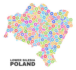 Mosaic technical Lower Silesia Province map isolated on a white background. Vector geographic abstraction in different colors.
