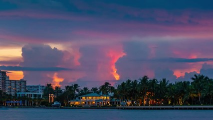 Fotobehang - Epic storm tropical clouds thunderstorm lightning bolts over palm trees silhouettes resort landscape, sunset to night. 4K UHD Timelapse.